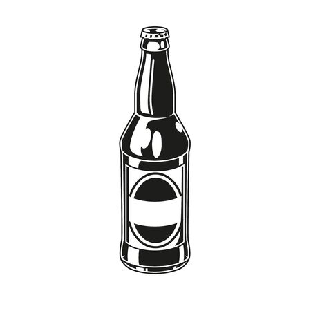 Vintage concept of glass beer bottle with label in monochrome style isolated vector illustration