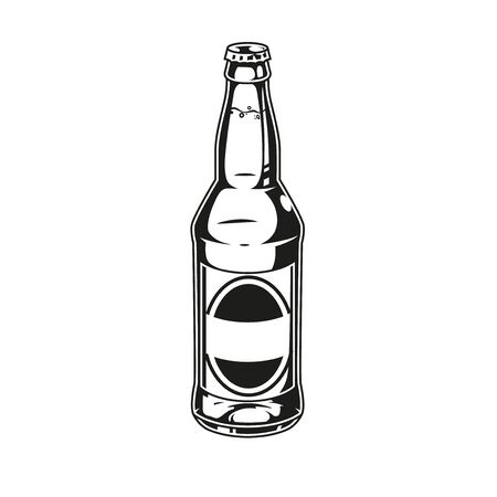 Monochrome concept of beer bottle in vintage style isolated vector illustration