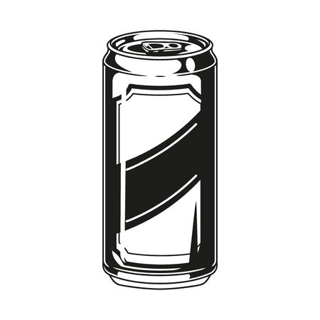 Aluminum can of beer in vintage monochrome style isolated vector illustration
