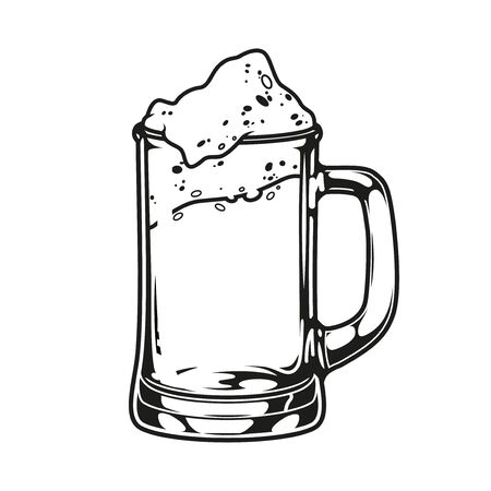 Mug of foamy beer concept in vintage monochrome style isolated vector illustration