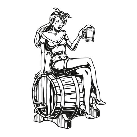 Brewing vintage monochrome concept with pretty girl holding cup of beer and sitting on wooden cask isolated vector illustration