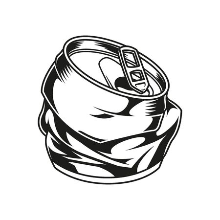 Crumpled metal drink can template in vintage monochrome style isolated vector illustration