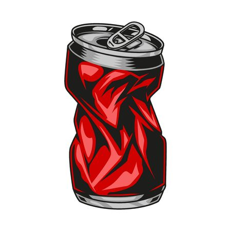 Crumpled red drink can in vintage style isolated vector illustration Ilustração