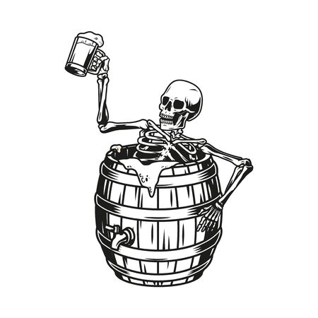 Skeleton sitting in beer wooden barrel and holding cup of fresh foamy drink in vintage monochrome style isolated vector illustration Ilustração