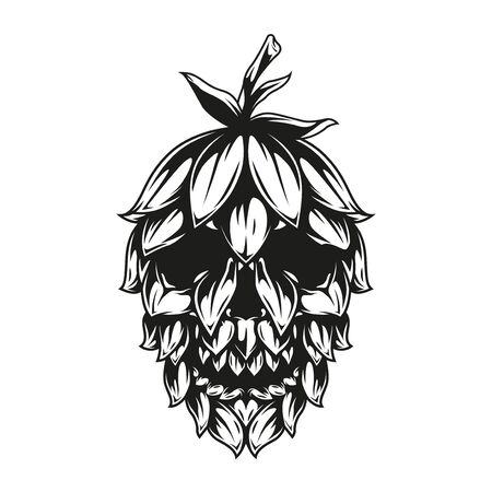 Skull hop cone template in vintage monochrome style isolated vector illustration Illustration