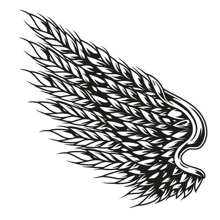 Wing of wheat ears vintage template in monochrome style isolated vector illustration