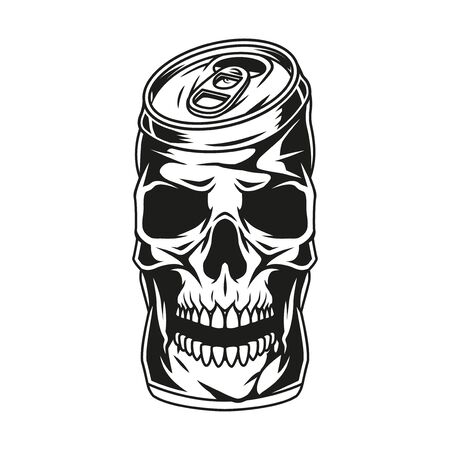 Brewing vintage monochrome concept with skull in shape of crumpled beer can isolated vector illustration