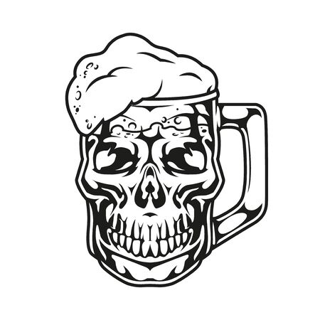 Vintage monochrome brewing concept with skull in shape of mug of fresh beer isolated vector illustration