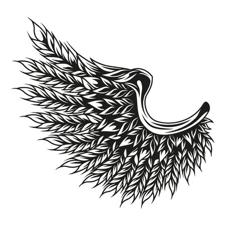 Barley ears in wing shape concept in vintage monochrome style isolated vector illustration Illustration