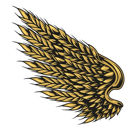Wheat ears in shape of eagle wing in vintage style on white background isolated vector illustration Illustration