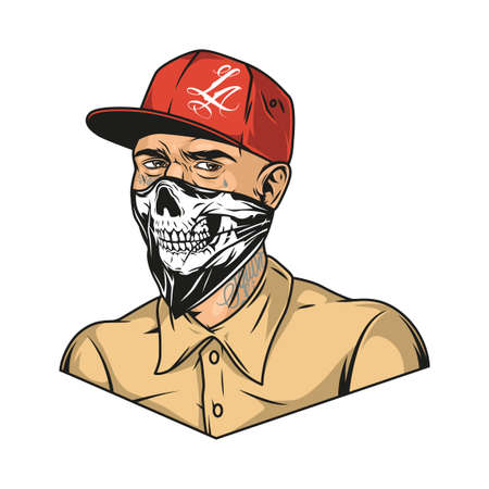 Vintage colorful concept of man with tattoos wearing baseball cap shirt and scary bandana with skull image isolated vector illustration Illustration