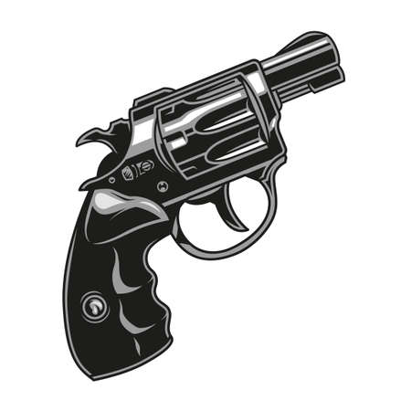 Vintage concept of revolver on white background isolated vector illustration Illustration