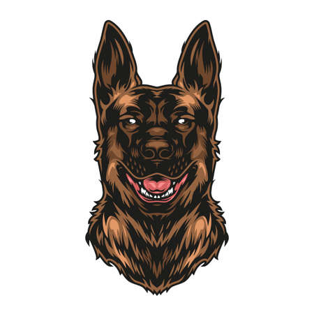German shepherd dog colorful concept in vintage style isolated vector illustration