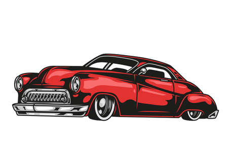 Red retro car template in vintage style isolated vector illustration Illustration