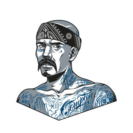 Mustached latino man in bandana with chicano tattoos on his face and body in vintage monochrome style isolated vector illustration