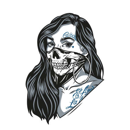 Woman in scary skull mask with chicano tattoos and round earrings in vintage monochrome style isolated vector illustration