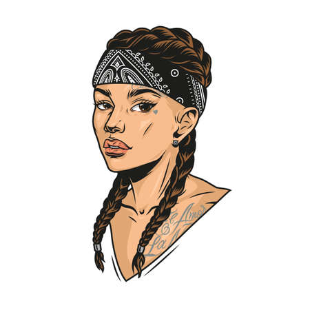 Colorful concept of pretty latino girl with pigtails chicano tattoos and bandana in vintage style isolated vector illustration Illustration
