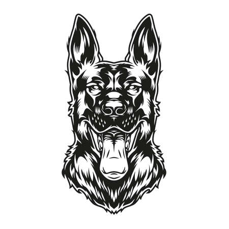 Monochrome concept of shepherd dog with tongue out in vintage style isolated vector illustration