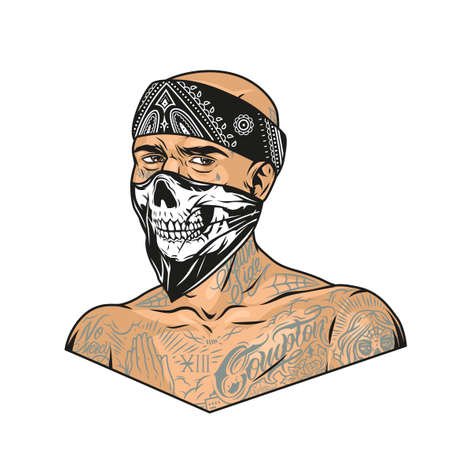 Man with chicano tattoos wearing bandana and scary mask in vintage style isolated vector illustration Illustration