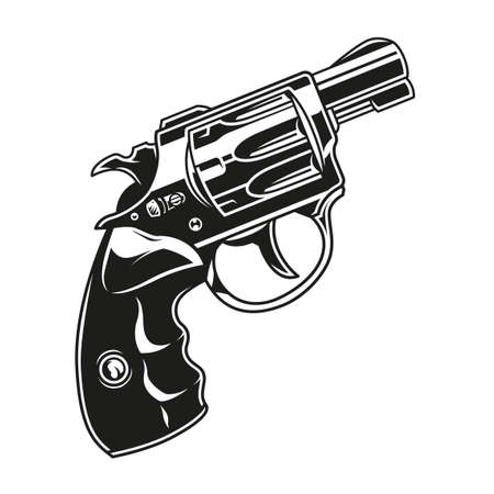 Handgun vintage template in monochrome style isolated vector illustration