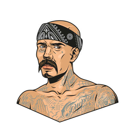 Mustached latino gangster with chicano tattoos and bandana in vintage style isolated vector illustration