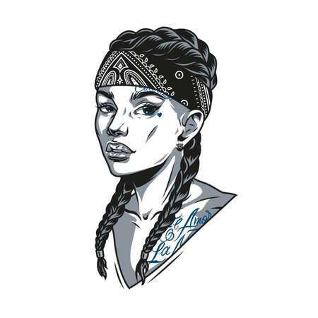 Beautiful young woman with tattoos pigtails and bandana in vintage monochrome style isolated vector illustration