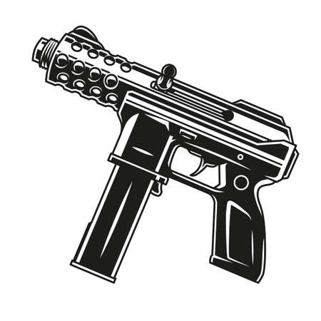 Machine pistol vintage monochrome template isolated vector illustration