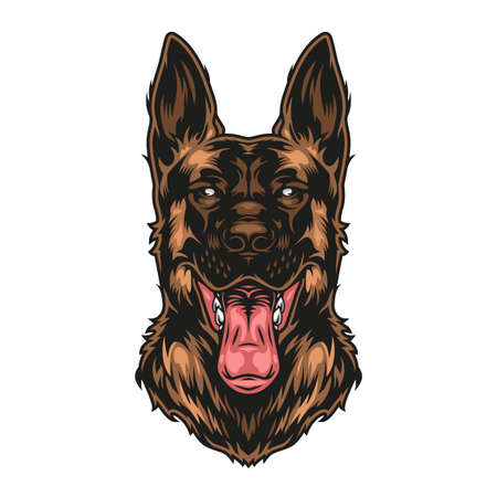 Colorful vintage german shepherd dog with sticking out tongue isolated vector illustration