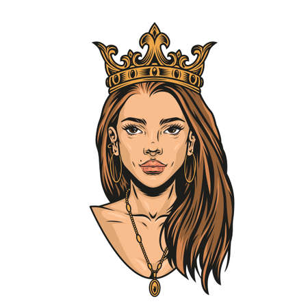 Colorful concept of pretty latino woman with crown golden earrings and pendant in vintage style isolated vector illustration