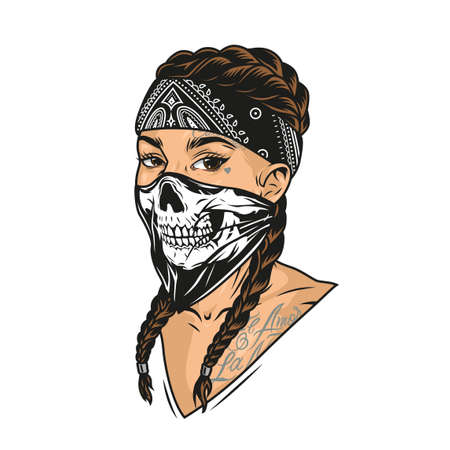 Young woman in scary mask and bandana with chicano tattoos and pigtails in vintage style isolated vector illustration