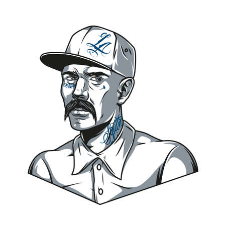 Mustached latino man in baseball cap with tattoos in vintage monochrome style isolated vector illustration