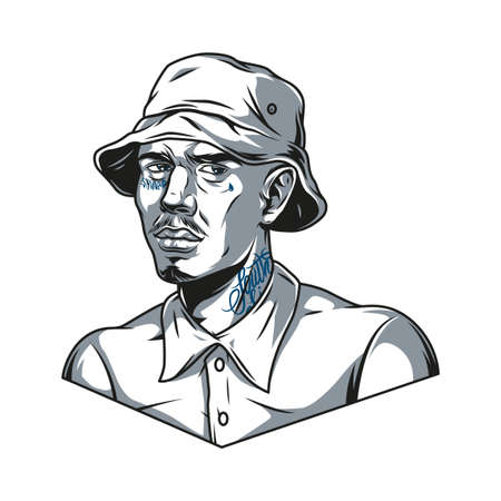 Latino man in panama hat with tattoos on face and neck in vintage monochrome style isolated vector illustration Illustration