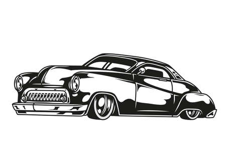 Retro classic car concept in vintage monochrome style isolated vector illustration