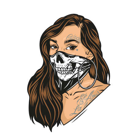 Colorful concept of woman in scary mask with long hair chicano tattoos and round earrings in vintage style isolated vector illustration