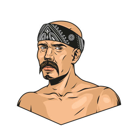 Vintage colorful concept of latino man with mustache wearing bandana isolated vector illustration