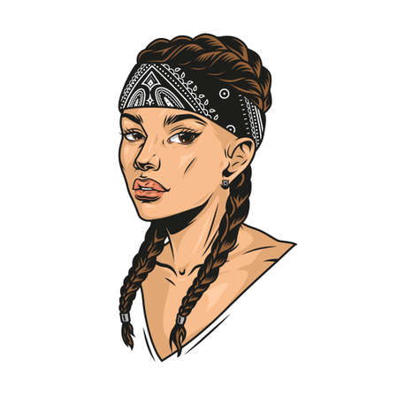 Attractive latino girl with pigtails wearing bandana in vintage style isolated vector illustration
