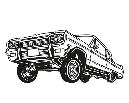 Vintage concept of low rider retro car in monochrome style isolated vector illustration