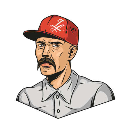 Mustached latino man wearing baseball cap and shirt in vintage style isolated vector illustration