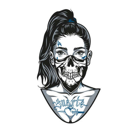 Vintage concept of woman in scary mask with ponytail hairstyle and chicano tattoos on face and body in monochrome style isolated vector illustration