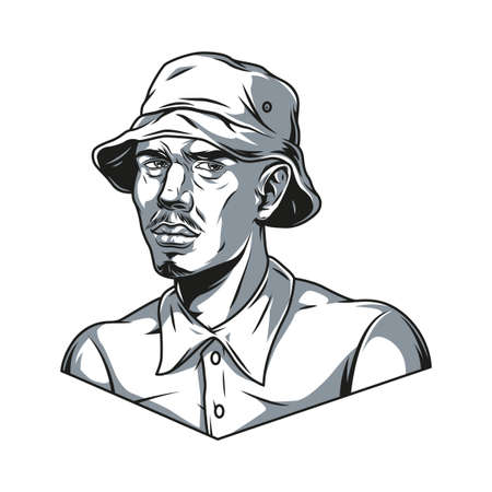 Latino man in hat and shirt in vintage monochrome style isolated vector illustration Illustration