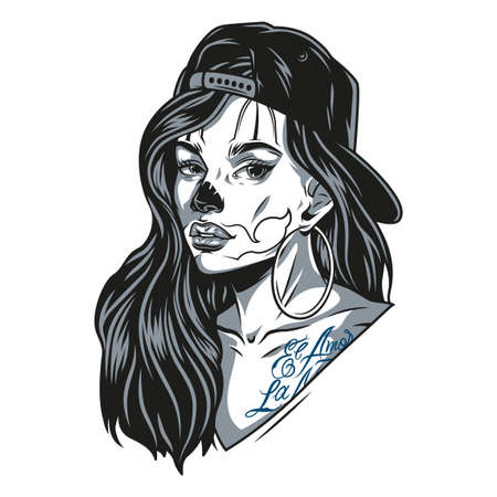 Chicano girl wearing baseball cap and round earrings with tattoos and cat face makeup in vintage monochrome style isolated vector illustration Illustration