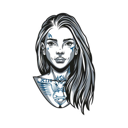 Vintage concept of attractive chicano girl with tattoos and long hair in monochrome style isolated vector illustration