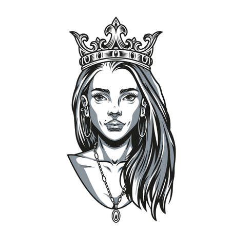 Vintage concept of pretty woman with crown pendant and earrings in monochrome style isolated vector illustration