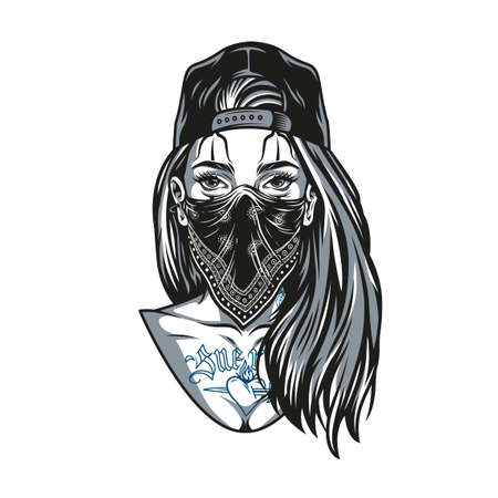 Chicano girl with tattoos and long hair wearing baseball cap and bandana in vintage monochrome style isolated vector illustration Illustration