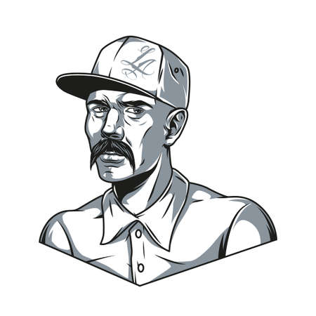 Mustached latino man in baseball cap in vintage monochrome style isolated vector illustration