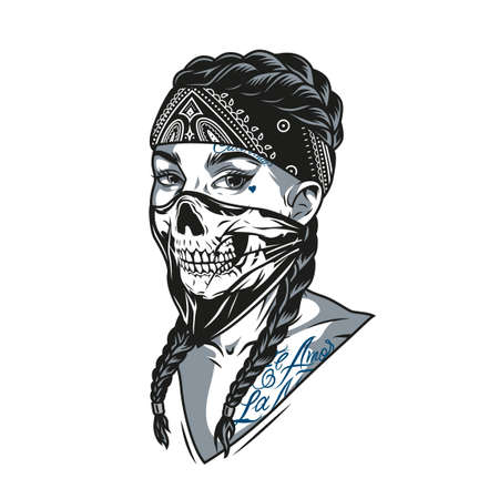 Vintage monochrome concept of chicano girl with tattoos in bandana and scary scarf on her face isolated vector illustration