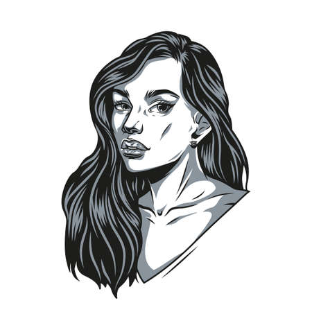Pretty lady with long hair in vintage monochrome style isolated vector illustration