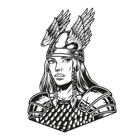 Beautiful woman viking warrior wearing metal armor and helmet with wings in vintage monochrome style isolated vector illustration