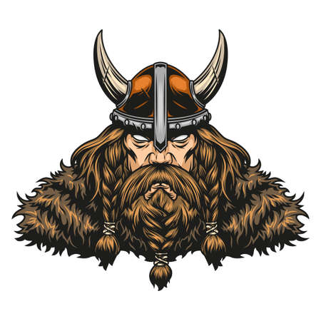 Bearded and mustached powerful viking warrior in horned helmet in vintage style isolated vector illustration