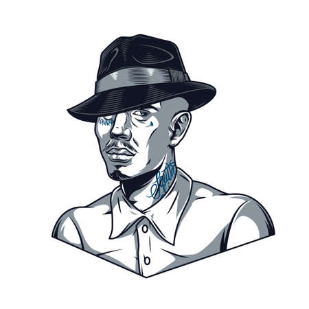 Vintage template of man in fedora hat and shirt with tattoos on his face and neck in monochrome style isolated vector illustration Illustration